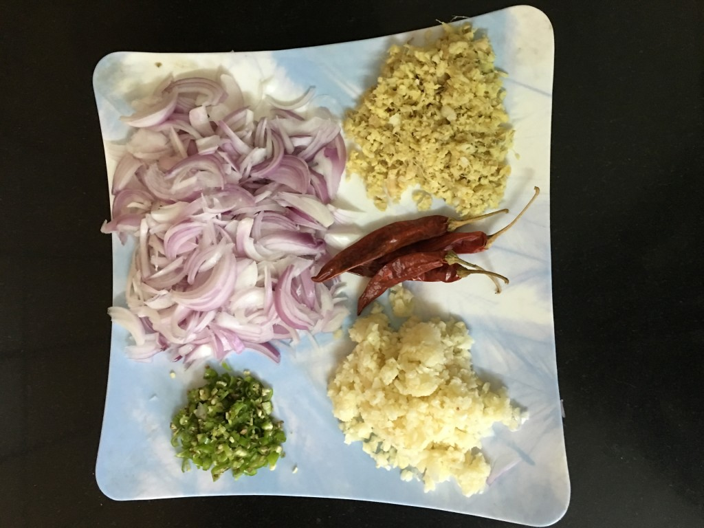 Then add onion ,ginger ,green chillies and saute it for 5-6 min.