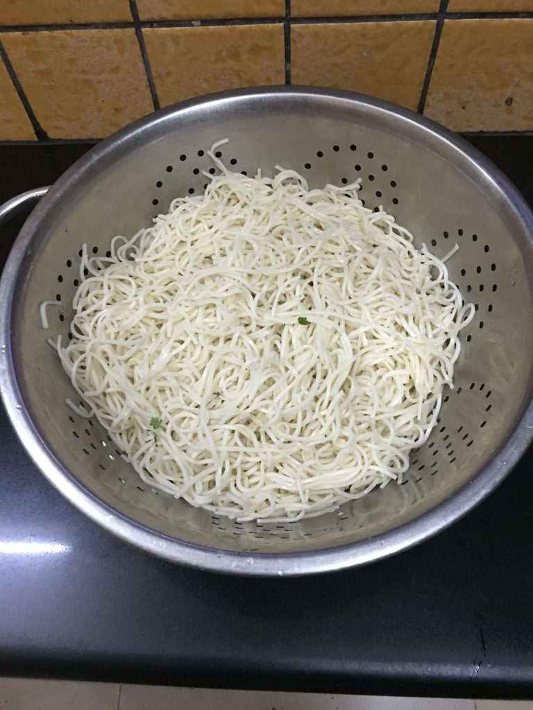 Drain the noodles  with help of drainer and and wash the noodles with fresh water.
