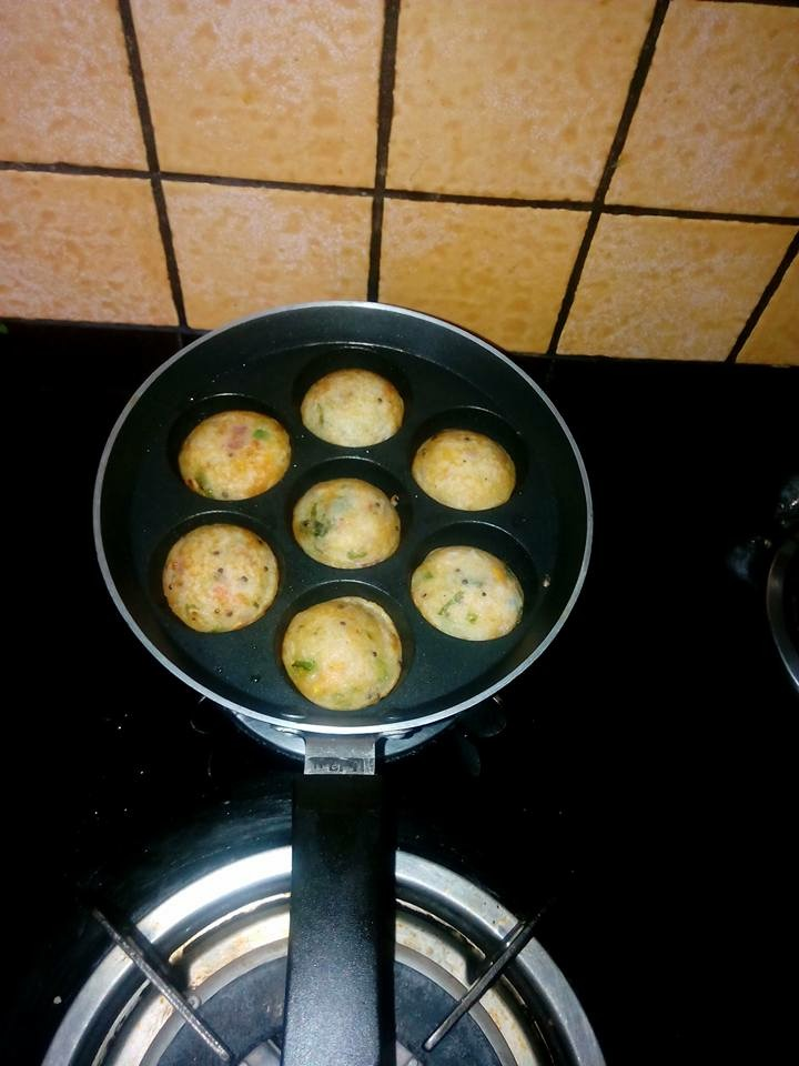 Take a appe stand and grease with some oil,put some mixture in appe moulds then cook on  gas by covering it. when it gets cooked from up then change its side and cook.