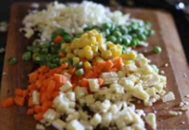 Then cut the vegetables finely,I added mushrooms,corns,bit of cauliflower,bit of cabbage,2 carrots,half cup peas ,all of them have to chopped finely