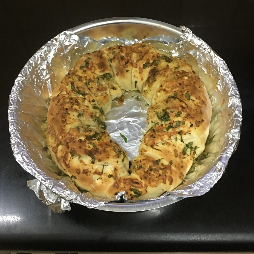 Then grill the garlic bread for 5-7 min on grill mode ,until it becomes golden brown.