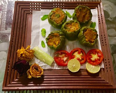 Stuffed capsicum - green bell peppers stuffed with spiced potatoes.